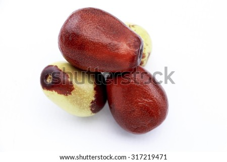 Jujube fruits closeup,isolated on white background - stock photo