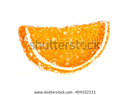 Jujube - orange jelly candy isolated on white background - stock photo