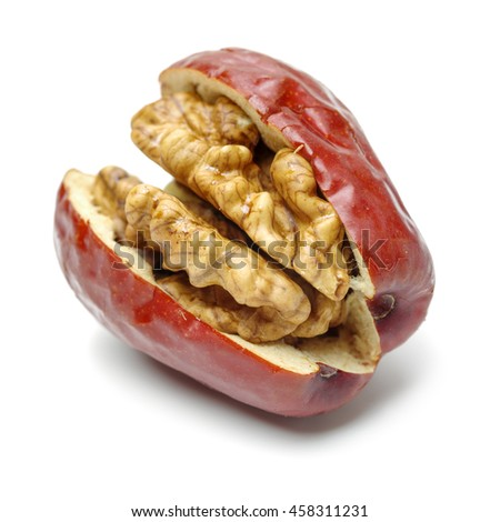 Jujube walnut on white background