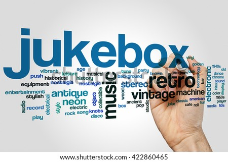 Jukebox word cloud concept with retro music related tags - stock photo