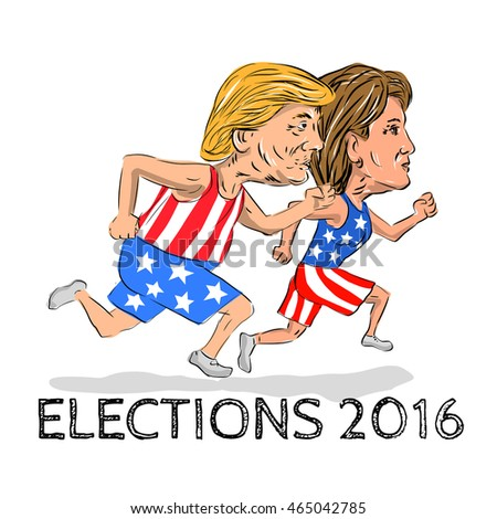 Jul 8, 2016: Illustration showing Republican Donald Trump and Democrat Hillary Clinton run running race for president in Election 2016 done in cartoon style.