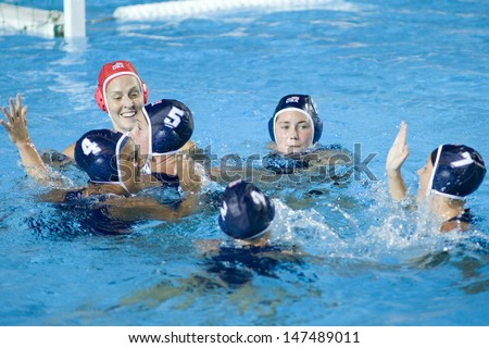 Jul 29 2009; Rome Italy;  USA team players celebrate winning the womens waterpolo semi final match between USA and Greece, USA won the match 8-7, at the 13th Fina World Aquatics Championships