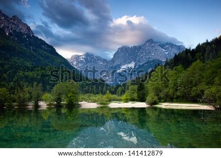 Julian Alps in Kranjska Gora town - stock photo
