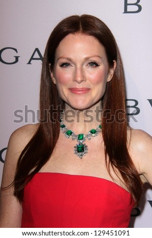 Julianne Moore at the Elizabeth Taylor Bvlgari Jewelry Collection Unveiling, Bvlgari Beverly Hills, CA 02-19-13 - stock photo