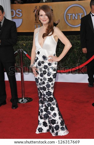 Julianne Moore at the 19th Annual Screen Actors Guild Awards at the Shrine Auditorium, Los Angeles. January 27, 2013  Los Angeles, CA Picture: Paul Smith - stock photo