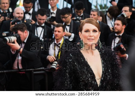 Julianne Moore attends the opening ceremony and premiere of La Tete Haute ( Standing Tall ) during the 68th annual Cannes Film Festival on May 13, 2015 in Cannes, France.  - stock photo