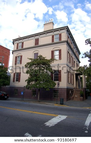 Juliette Gordon Low birthplace in Savannah, GA.  Low was a founder of the Girl Scouts of America. The building was Savannah's first National Historic Landmark and is now a museum. - stock photo
