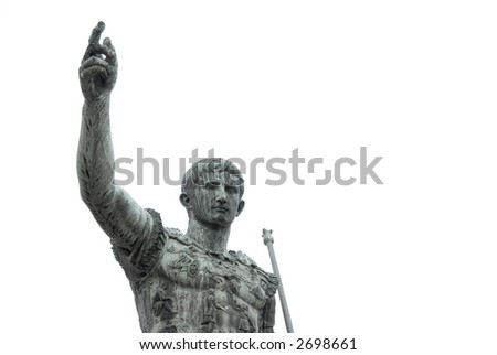 Julius Caesar, Roman Emperor. A statue in Rome, Italy, isolated on white - stock photo