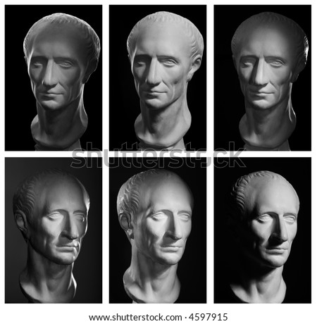 Julius Caesar, Roman Emperor. Different photo-light schemes, isolated on Black. High resolution. - stock photo
