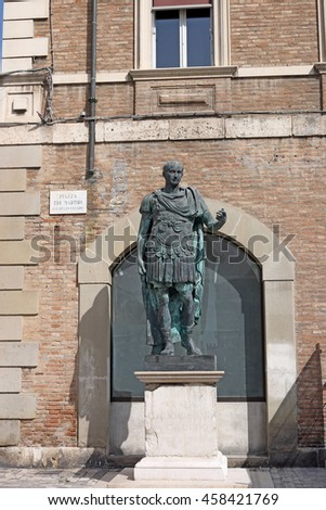 Julius Caesar statue Rimini Italy - stock photo