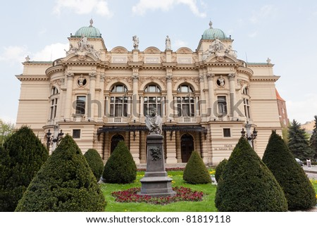 Juliusz S?owacki Theatre in Kraków, Poland,  built in 1893, was modeled after some of the best European Baroque theatres - stock photo