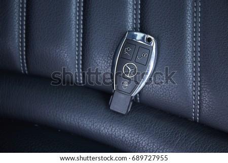 July 2017, Bangkok, Thailand : The key of Merdedes-Benz c350 e hybrid in garage.