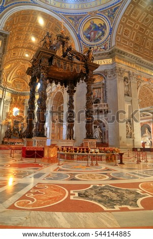 July 05, 2016: Beautiful interior of St Peter's church in Vatican, Rome, Italy