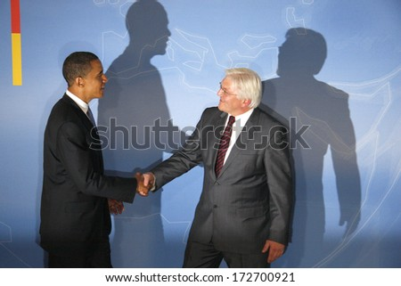 JULY 24, 2008 - BERLIN: Frank-Walter Steinmeier, Barack Obama - meeting of the democratic cadidate for presidency and the German Foreign Minister in the Foreign Ministry in Berlin. - stock photo