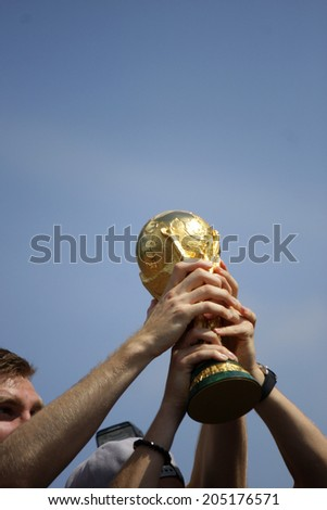 JULY 15, 2014 - BERLIN: the FIFA World Championship Trophy - reception of the German national team after the win of the football world championship in Brasil 2014.