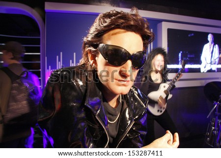 "JULY 10, 2008 - BERLIN: the wax figure of Bono (aka Paul David Hewson) of the band U2 - official opening of the waxworks ""Madame Tussauds Berlin"", Unter den Linden, Berlin."