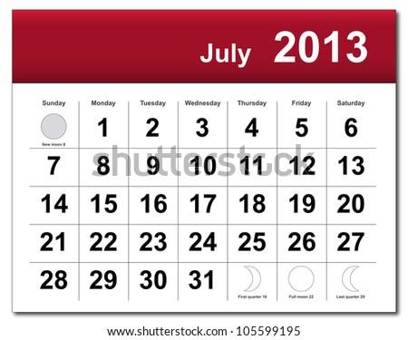 July 2013 calendar - stock photo