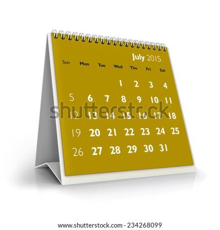 July 2015 Calendar - stock photo