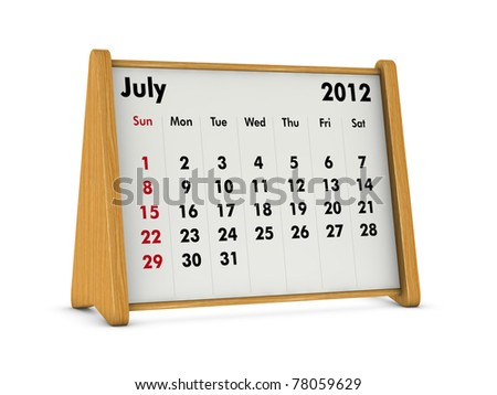 july 2012 elegant wooden calendar on white background (3d render)