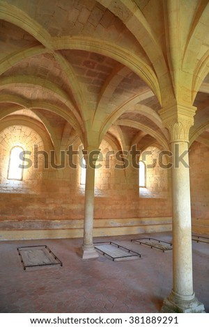 July 15, 2015: Gothic architecture of the chapter house of the Monastery of Santa Maria de Santes Creus in Catalonia, Spain