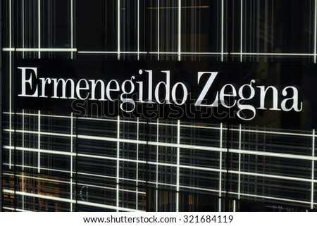 JULY 2015 - HONG KONG: the logo of the brand Ermenegildo Zegna