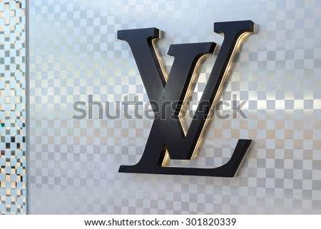 JULY 2015 - HONG KONG: the logo of the brand Louis Vuitton, Hong Kong.