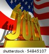July 4 in golden letters on a golden pedestal in front of  the American flag - stock photo