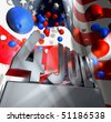 July 4 in silver letters on a silver pedestal and a lot of balloons in the national colors of the USA in front of the American flag - stock photo