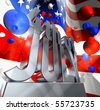 July 4 in silver letters on a silver pedestal and a lot of balloons in the national colors of the USA - stock photo