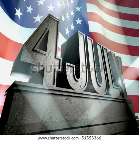 July 4 in silver letters on a silver pedestal in sunbeams in front of  the American flag - stock photo