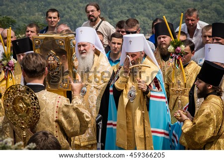 July 27, 2016. Kyiv, Ukraine. Thousands parishioners of the Ukrainian Orthodox Church (Moscow Patriarchate) pray at the Saint Vladimir Monument. litany part of a large religious procession.