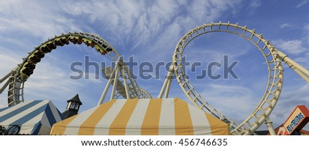 July 11, 2016 Rollercoaster ride on boardwalk in Wildwood NJ. - stock photo