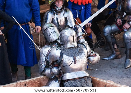 July 30, 2017, Russia, Vyborg, the tournament of St. Olaf in Vyborg Castle. Knight Battle