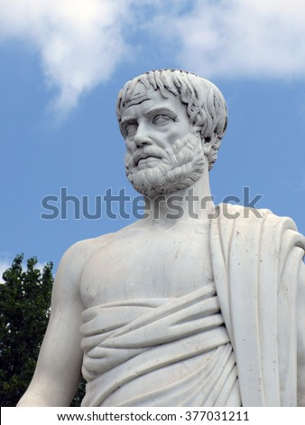 JULY 2013, SITHONIA, GREECE - White marble staute of ancient Greek philosopher Aristotle
