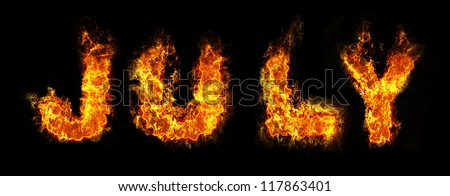 July text on fire - stock photo