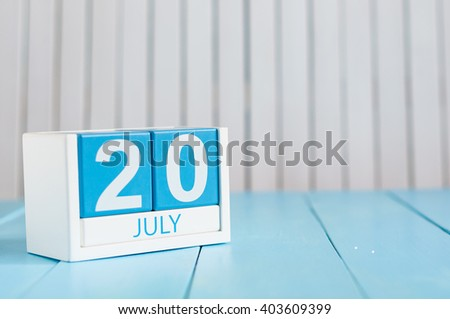 July 20th. Image of july 20 wooden color calendar on white background. Summer day. Empty space for text. International Chess Day