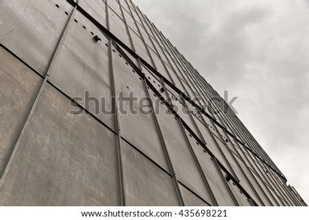 July 2015 - The Jewish Museum Berlin, Berlin, Germany: Facade detail. It is designed by architect Daniel Libeskind.