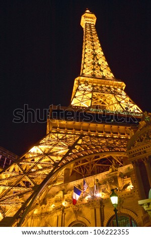 JULY 2004 - Vertical night view of Eiffel Tower at Paris Casino, Las Vegas, NV - stock photo