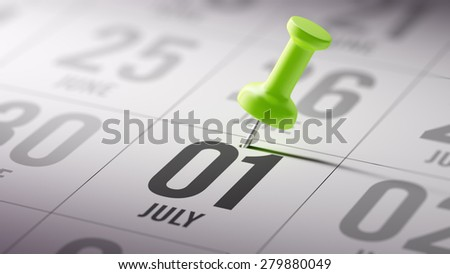 July 01 written on a calendar to remind you an important appointment. - stock photo