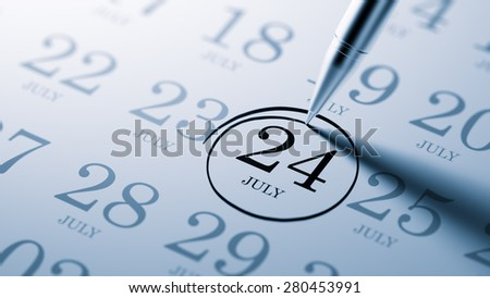 July 24 written on a calendar to remind you an important appointment.