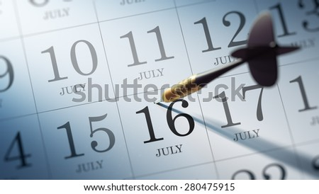 July 16 written on a calendar to remind you an important appointment.