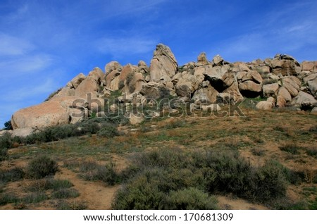 Jumble of rocks on a hillside in a park, Riverside, California - stock photo
