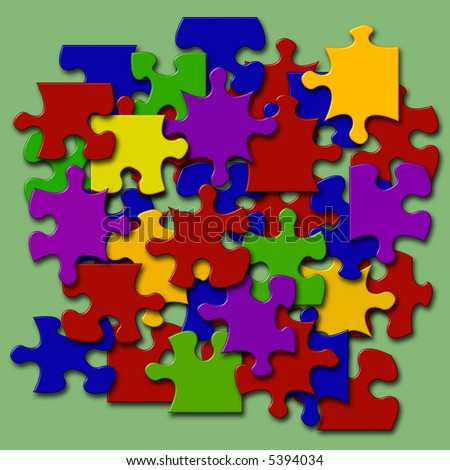 jumbled pieces of a jigsaw in multi colors