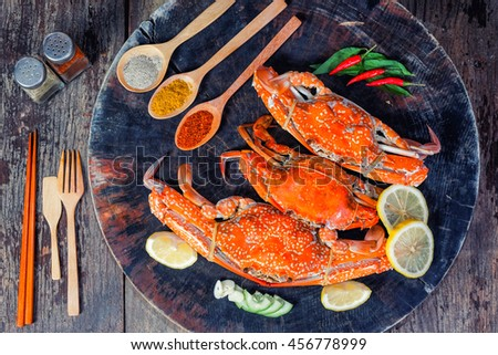 jumbo crab and spices herb on dark background  - stock photo