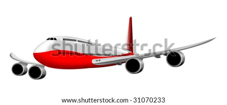 Jumbo jet plane rendered illustration isolated on white - stock photo