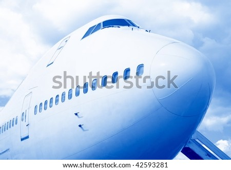 Jumbo Jet stop in a french airport - stock photo