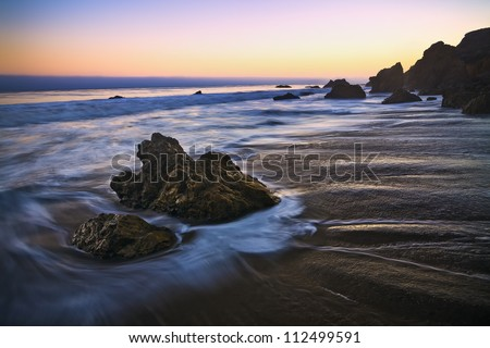 jumbo rock in Malibu beach, California