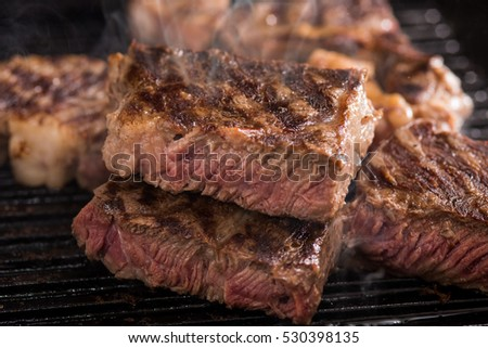 Jumbo steak with steam on frying pan