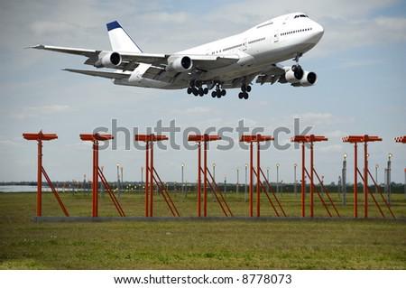 Jumbo takeoff in airport. - stock photo