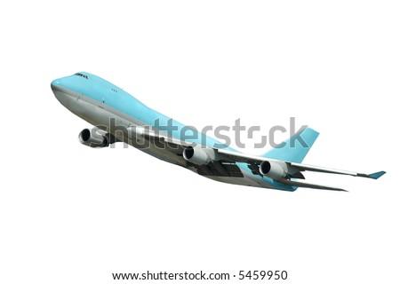 Jumbo takeoff on a clean white background. - stock photo